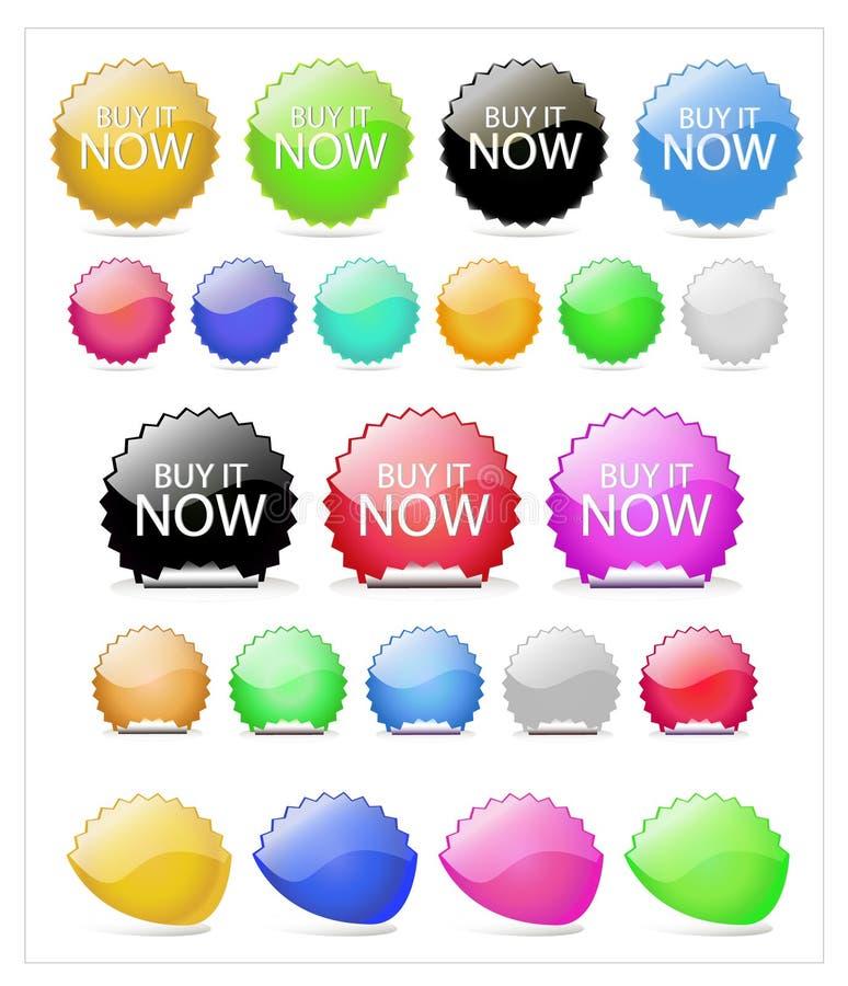 Sistema del botón del vector de los elementos del Web foto de archivo