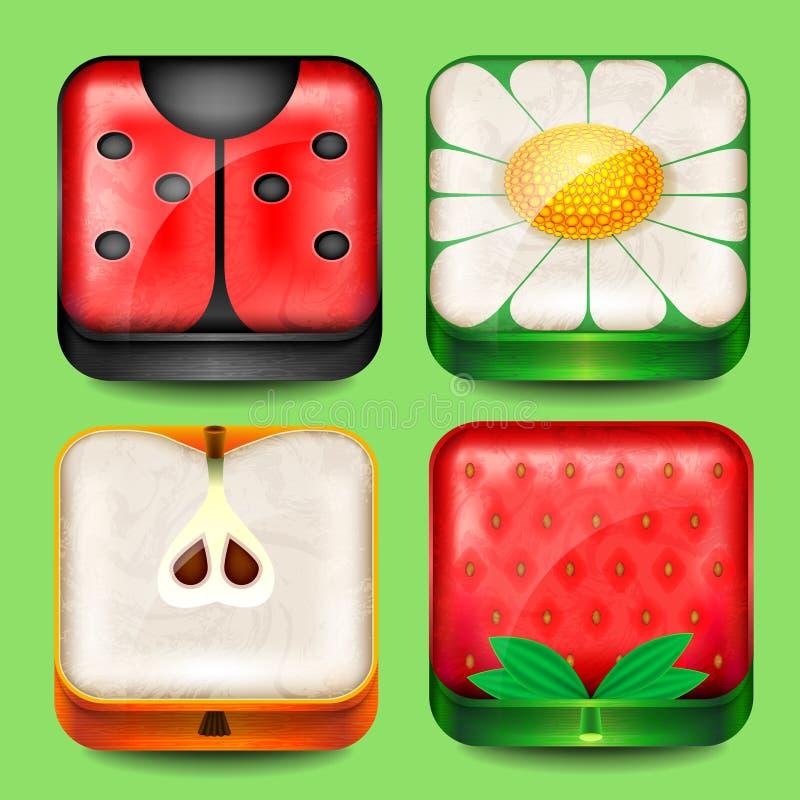 Sistema de botones y de iconos libre illustration