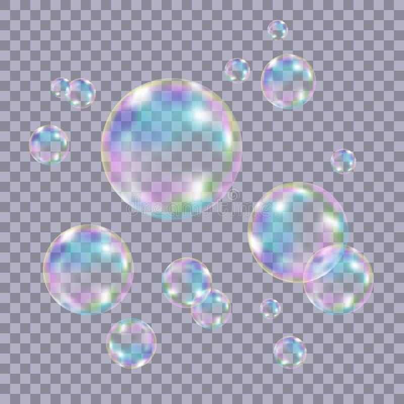 Sistema de burbujas de jabón coloridas transparentes realistas ilustración del vector