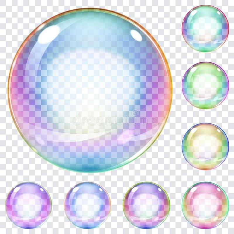 Sistema de burbujas de jabón multicoloras ilustración del vector