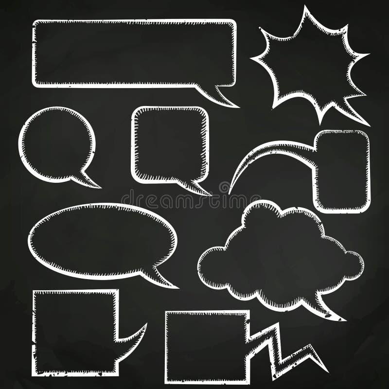 Sistema de burbujas del discurso dibujadas en tiza ilustración del vector