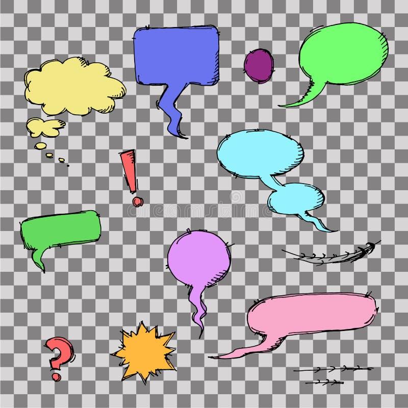 Sistema de burbujas y de elementos cómicos ilustración del vector