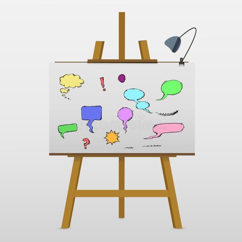 Sistema de burbujas y de elementos cómicos stock de ilustración