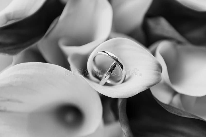 Sistema de BW de anillos de bodas en las flores foto de archivo