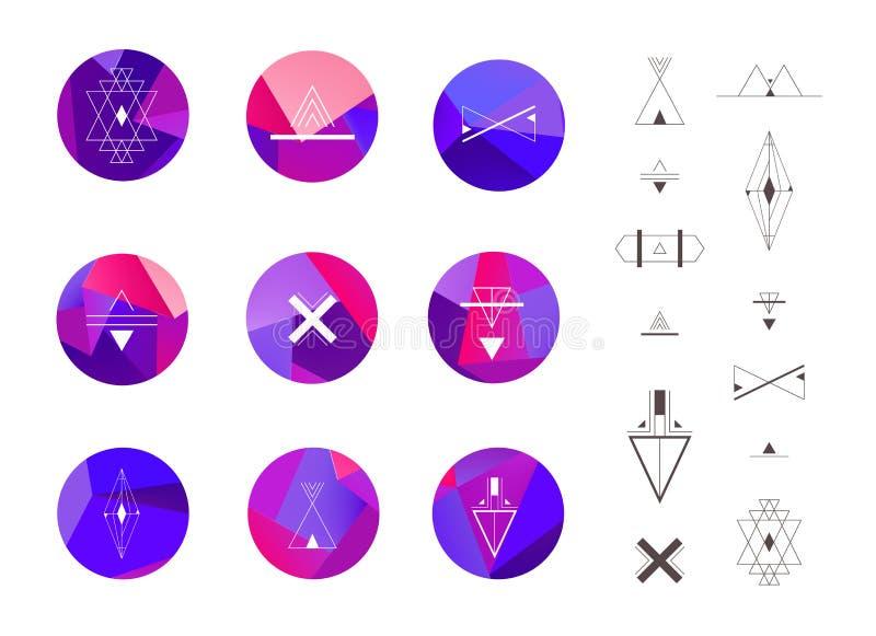 Sistema de círculos cristalinos coloreados en estilo del polígono libre illustration