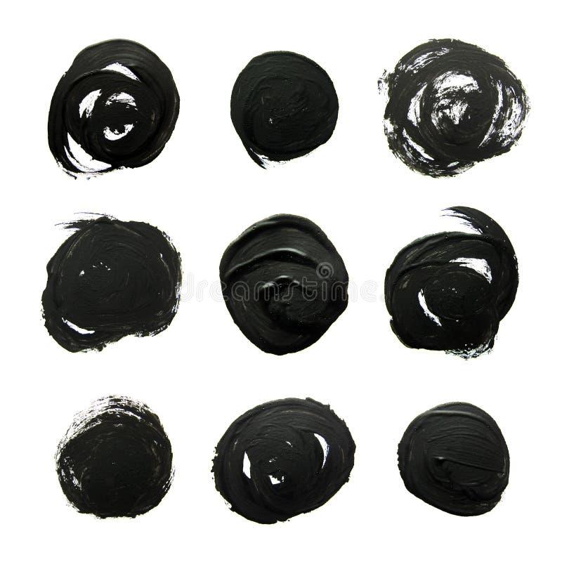 Sistema de círculos negros Movimientos abstractos del cepillo del aguazo ilustración del vector