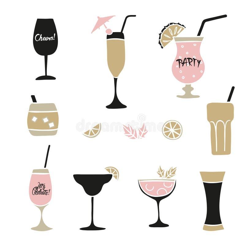 Sistema de cócteles dibujados mano Colección del vector de bebidas alcohólicas ilustración del vector