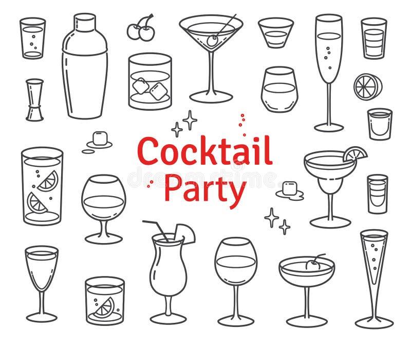 Sistema de cócteles y del vector de las bebidas del alcohol stock de ilustración