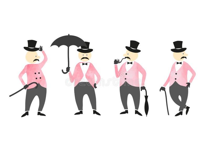 Sistema de caballeros del victorian Colección del vector de caracteres libre illustration