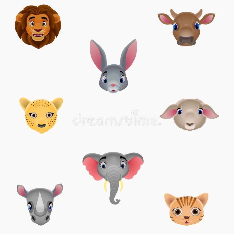 Sistema de cabezas animales lindas stock de ilustración