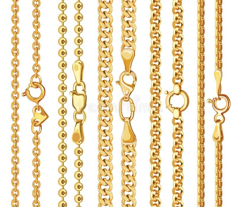 Sistema de cadenas de oro del vector realista con el corchete ilustración del vector