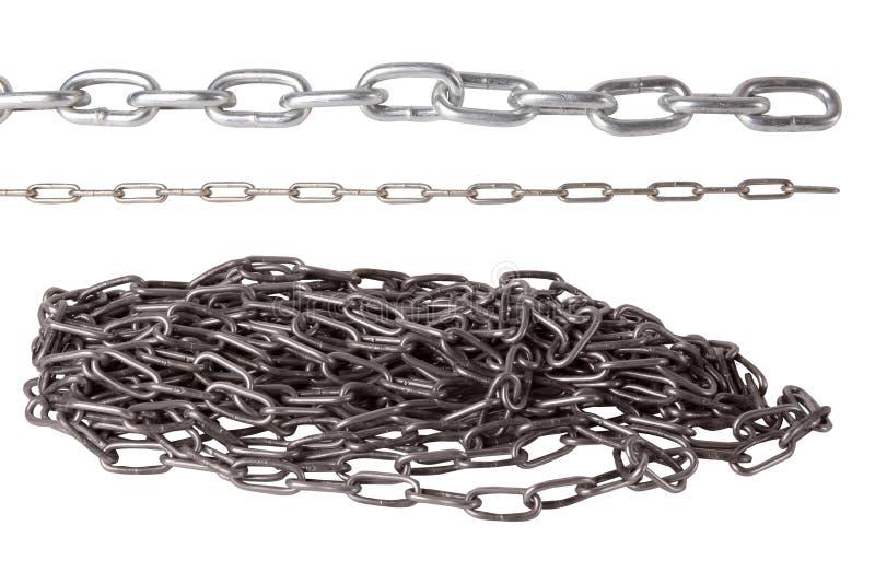 Sistema de cadenas del metal aisladas en el fondo blanco imagenes de archivo