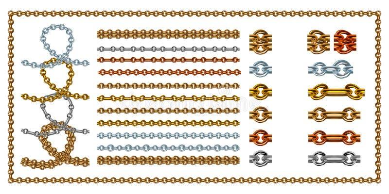 Sistema de cadenas de oro del vector realista con el corchete Vector el ejemplo de los vínculos del oro aislado en el fondo blanc libre illustration