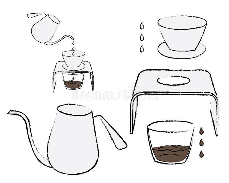 Sistema de café del goteo de la mano, bosquejo del garabato fotos de archivo libres de regalías