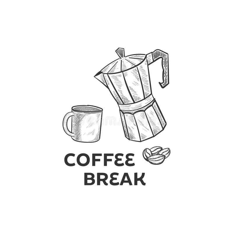 Sistema de café de dibujo de la mano libre illustration