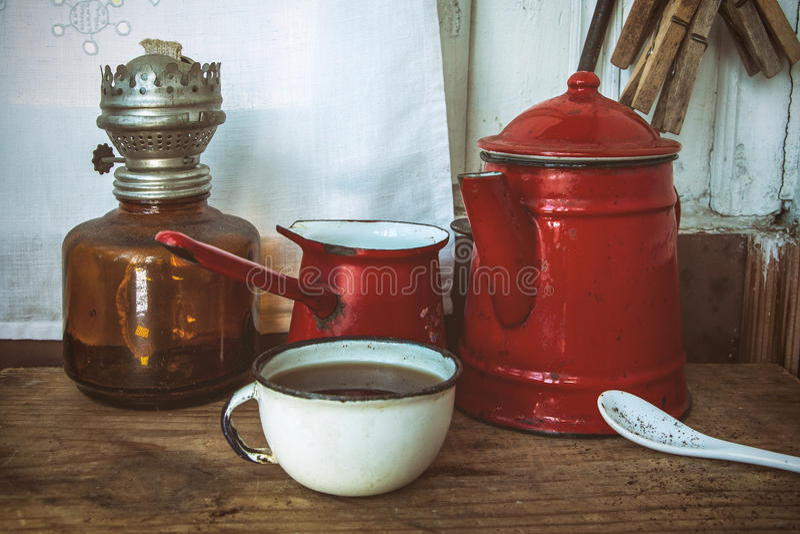 Sistema de café pintado viejo vintage imágenes de archivo libres de regalías