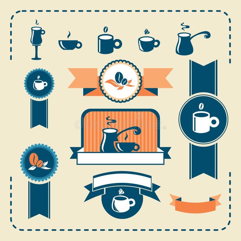 Sistema de café retro de la marina de guerra del melocotón n stock de ilustración