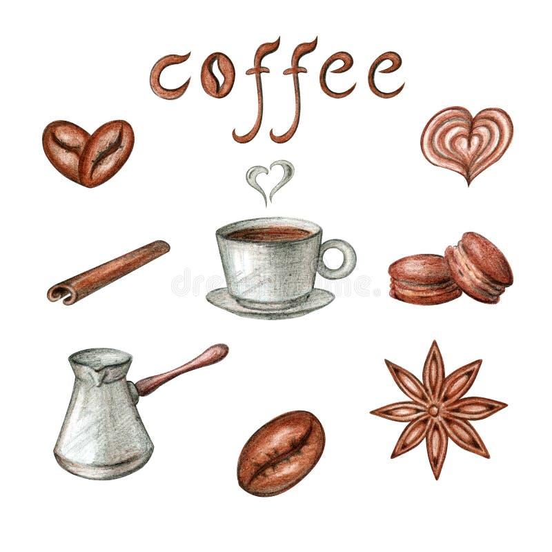 Sistema de caf? en un fondo blanco ilustración del vector