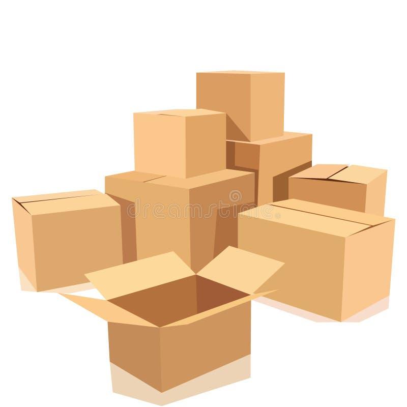 Sistema de cajas de cartón isométricas aisladas en blanco stock de ilustración