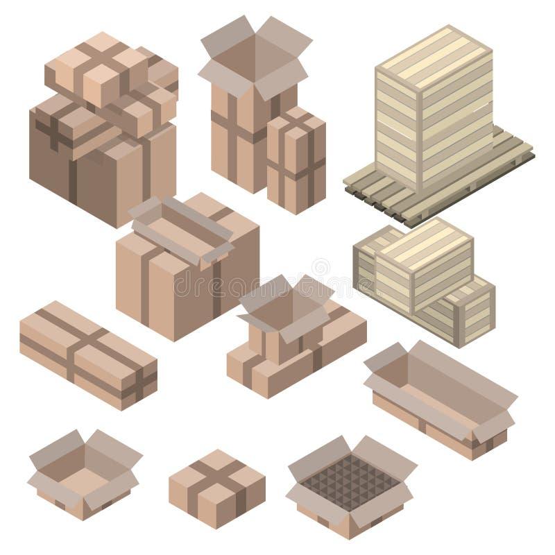 Sistema de cajas de cartón isométricas en blanco ilustración del vector