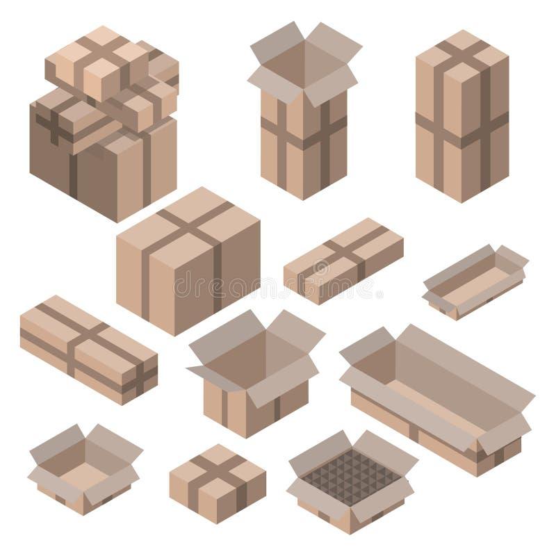 Sistema de cajas de cartón isométricas en blanco libre illustration