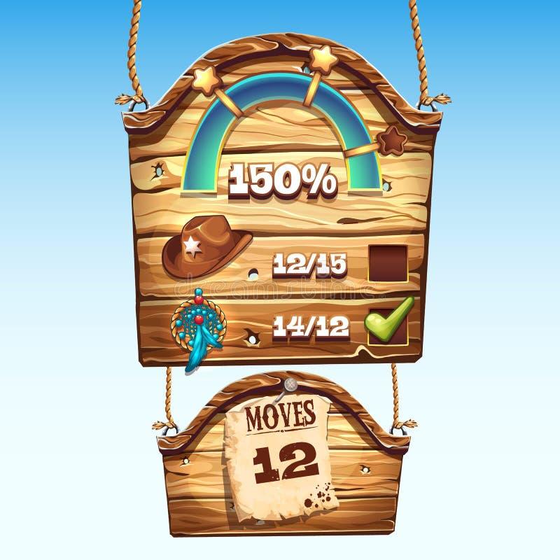 Sistema de cajas de madera a la interfaz de usuario para un juego de ordenador ilustración del vector