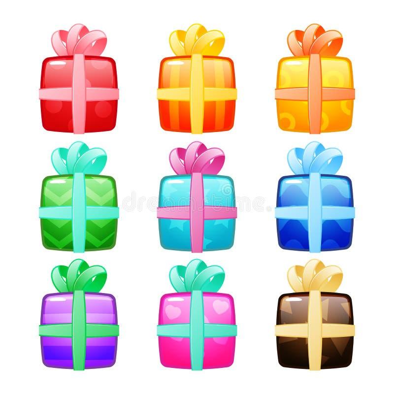 Sistema de cajas de regalo stock de ilustración