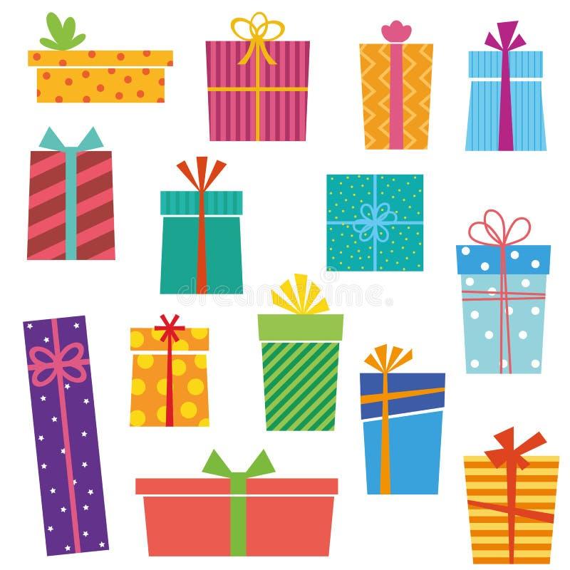 Sistema de cajas de regalo coloridas en el fondo blanco ilustración del vector