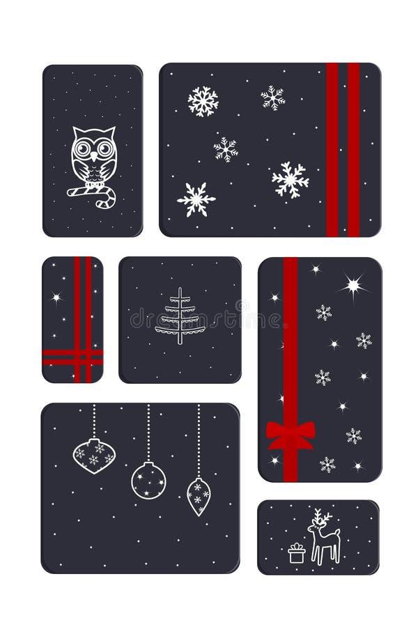 Sistema de cajas del regalo de Navidad stock de ilustración
