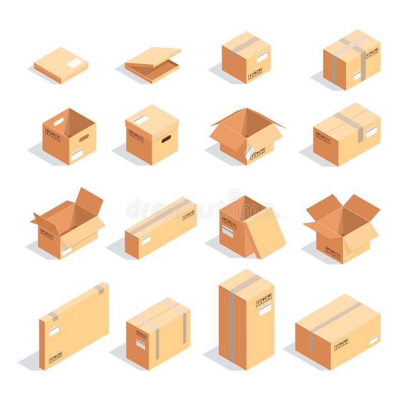 Sistema de cajas en la visión isométrica aisladas en el fondo blanco stock de ilustración