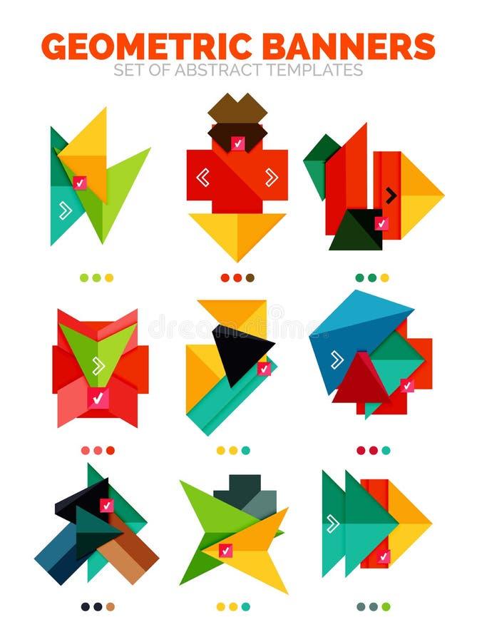 Sistema de cajas geométricas vacías coloridas brillantes de la información de la bandera del vector stock de ilustración