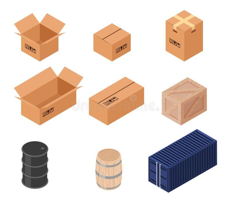 Sistema de cajas isométricas del vector stock de ilustración