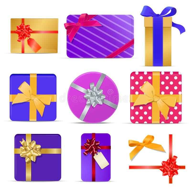 Sistema de cajas de regalo con las cintas y los arcos ilustración del vector