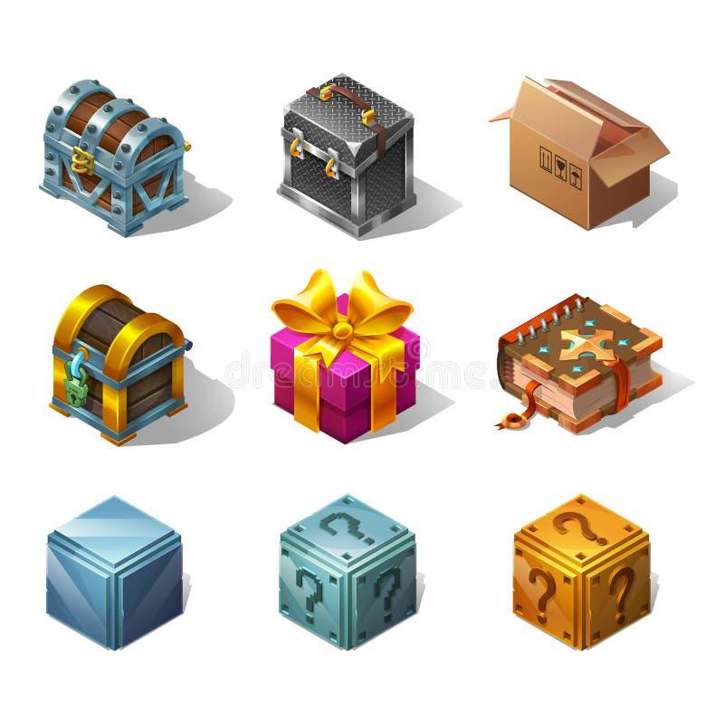 Sistema de cajas y de objetos isométricos de la historieta de los iconos para el juego Ilustración del vector ilustración del vector