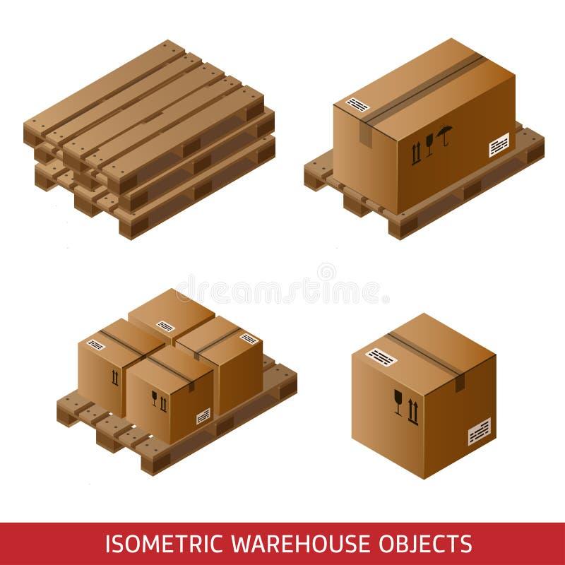 Sistema de cajas y de plataformas de cartón isométricas aisladas en blanco ilustración del vector