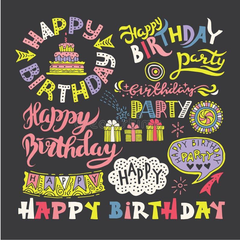 Sistema de caligrafía dibujada mano Pen Brush del feliz cumpleaños libre illustration
