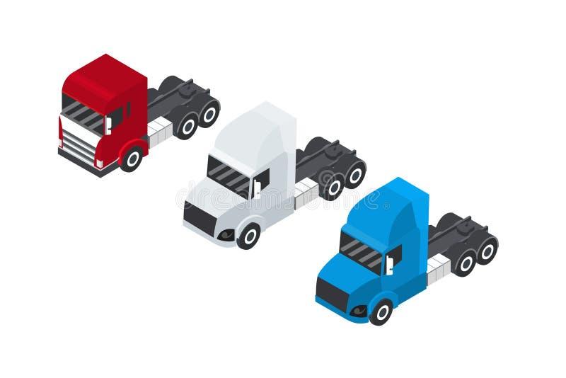 Sistema de camiones o del remolque en una visión isométrica Envase para el transporte Salida del cargo Rojo, blanco y azul Vector stock de ilustración