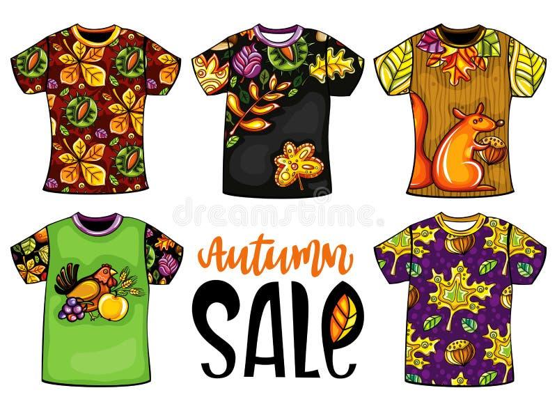 Sistema de camisetas de las plantillas del otoño del vector stock de ilustración