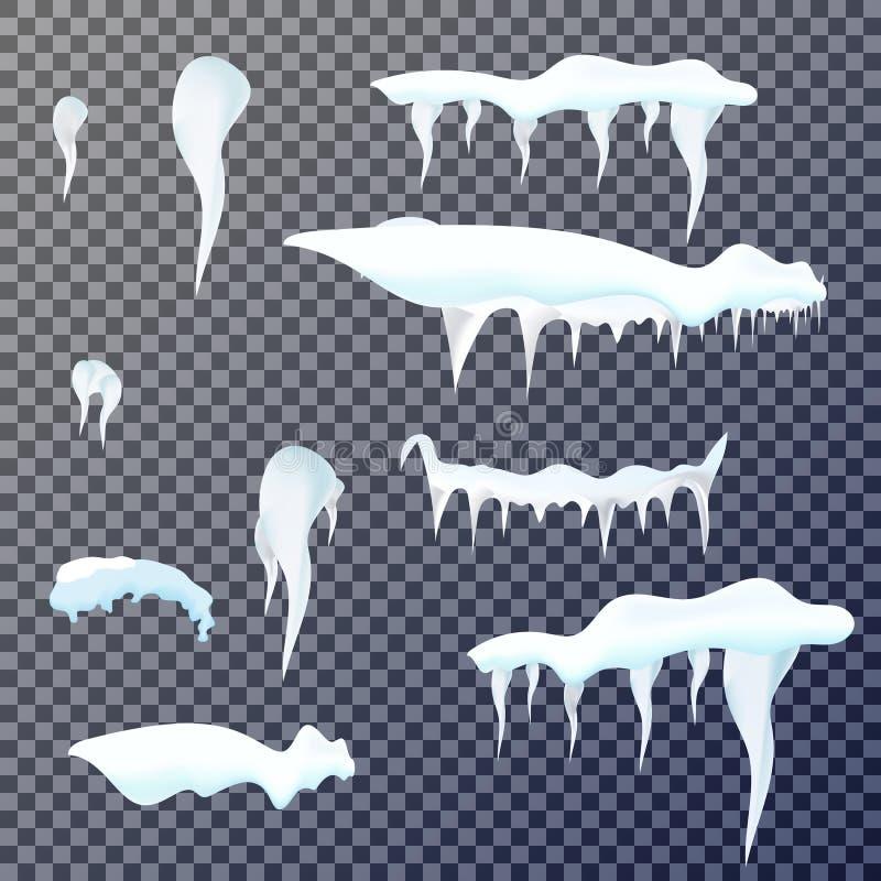 Sistema de carámbanos de la nieve en fondo transparente Ilustración del vector stock de ilustración
