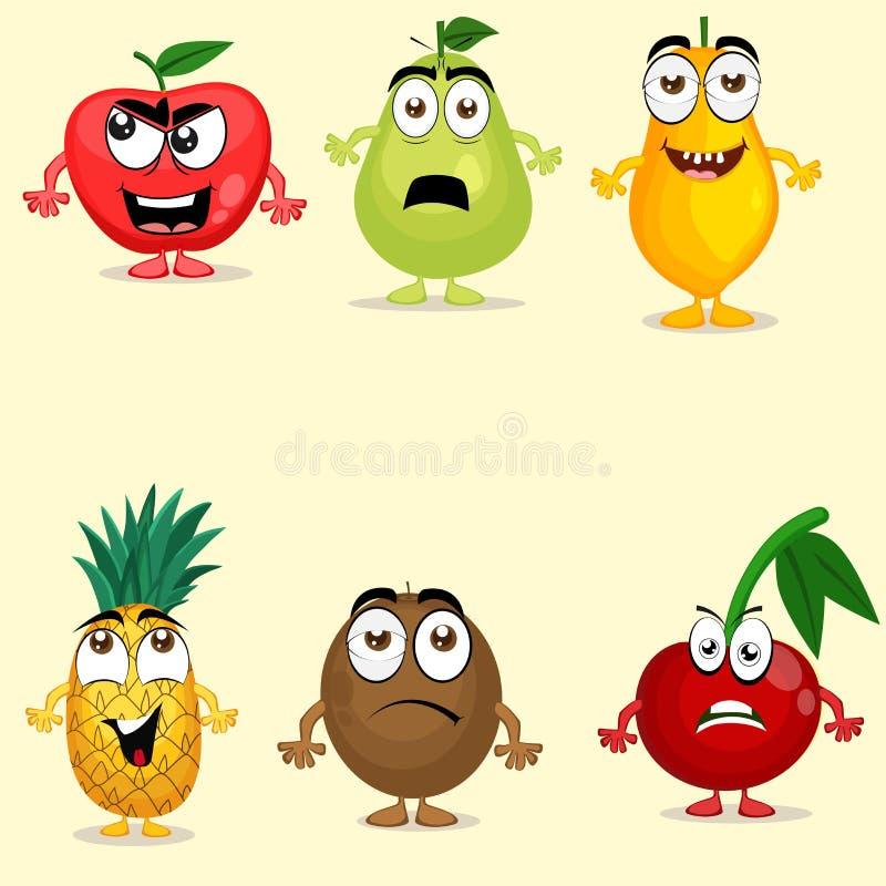 Sistema de caracteres coloridos de la fruta ilustración del vector