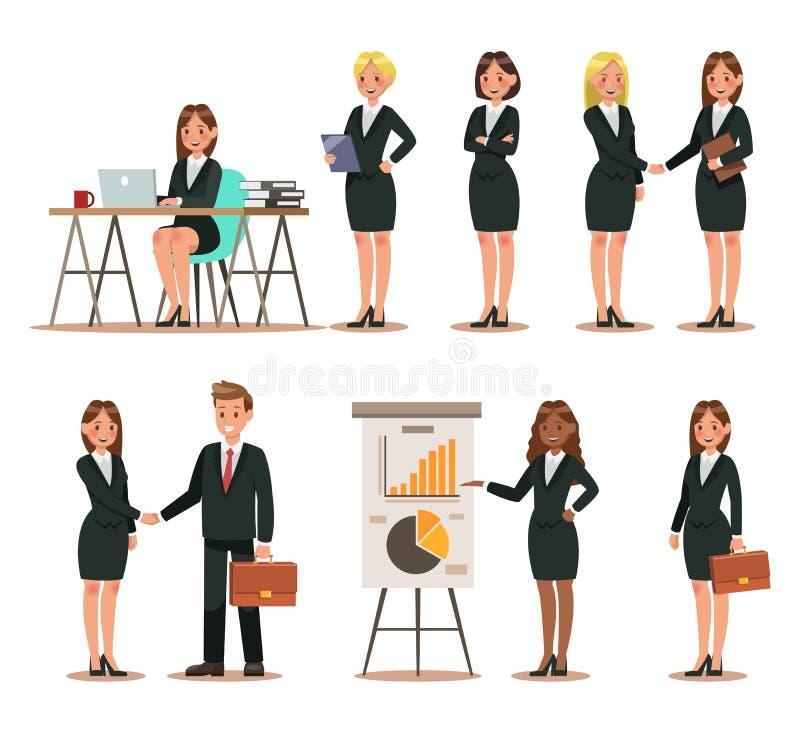 Sistema de caracteres del negocio que trabajan en oficina Diseño del ejemplo del vector no 2 ilustración del vector