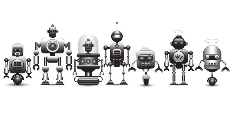 Sistema de caracteres del robot del vintage stock de ilustración