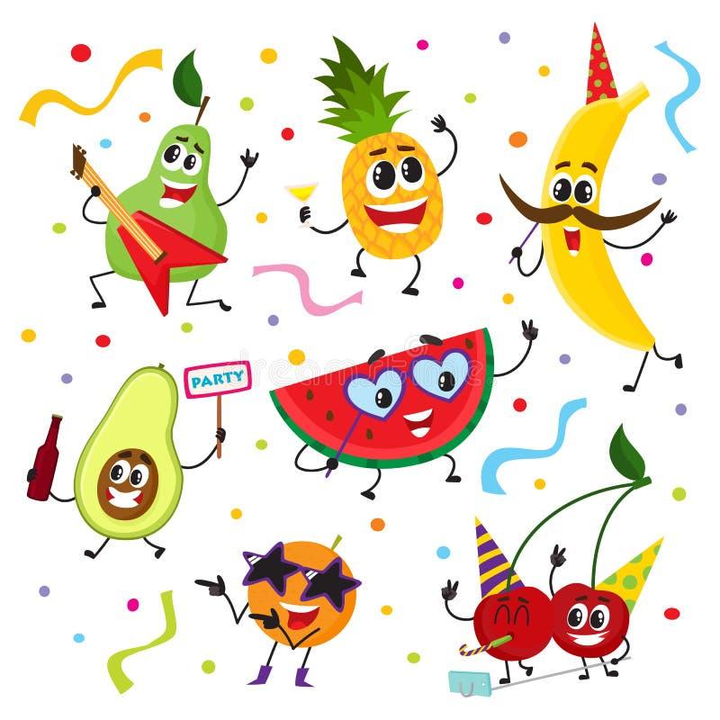 Sistema de caracteres divertidos de la fruta que tienen partido stock de ilustración