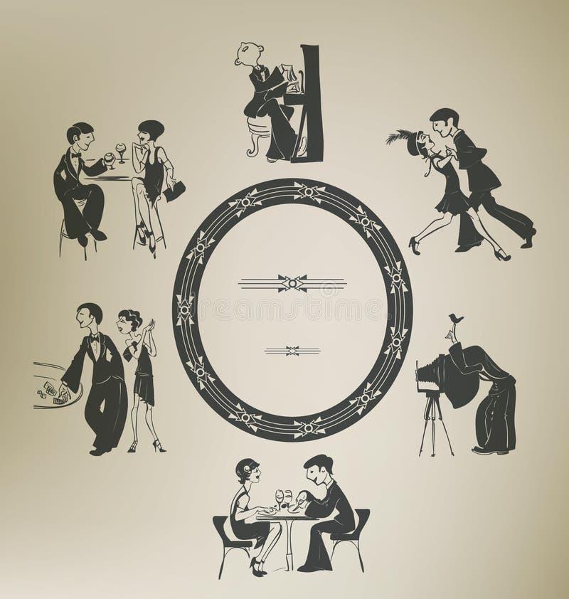 Sistema de caracteres en actividades del partido del vintage. fotografía de archivo libre de regalías