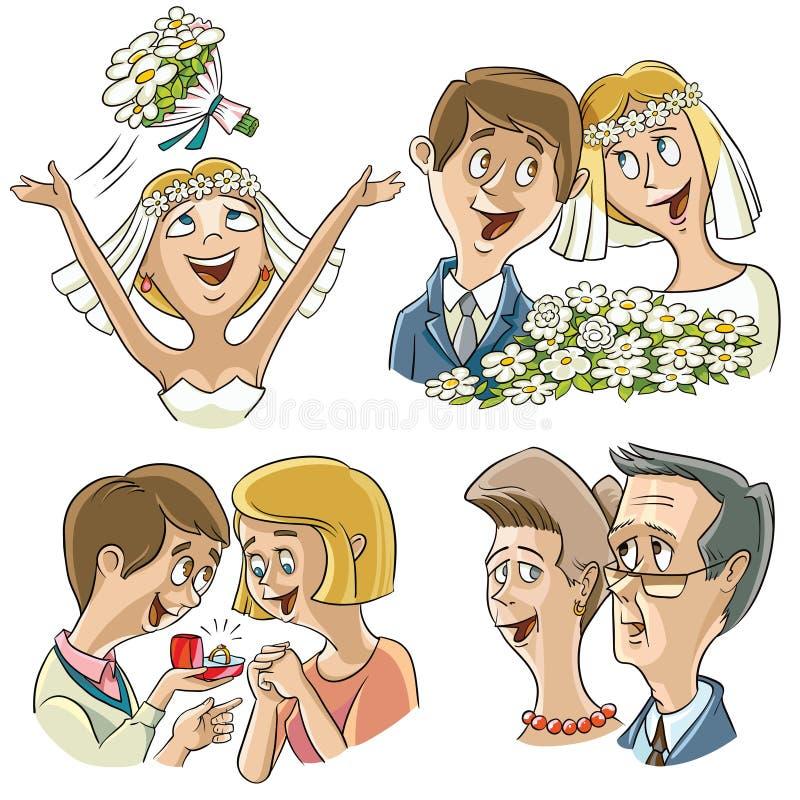 Sistema de caracteres en el tema de la boda ilustración del vector