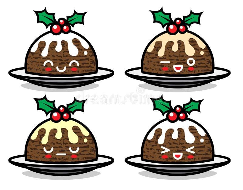 Sistema de caracteres lindos del pudín de la Navidad del vector con diversas emociones libre illustration