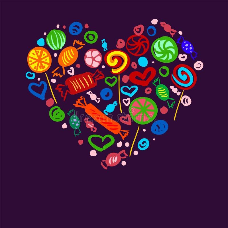 Sistema de caramelos brillantes en el corazón de la forma para su publicidad ilustración del vector