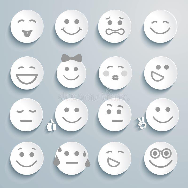 Sistema de caras con diversas expresiones de la emoción. libre illustration