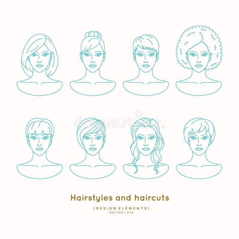 Sistema de caras femeninas con diversos peinados ilustración del vector