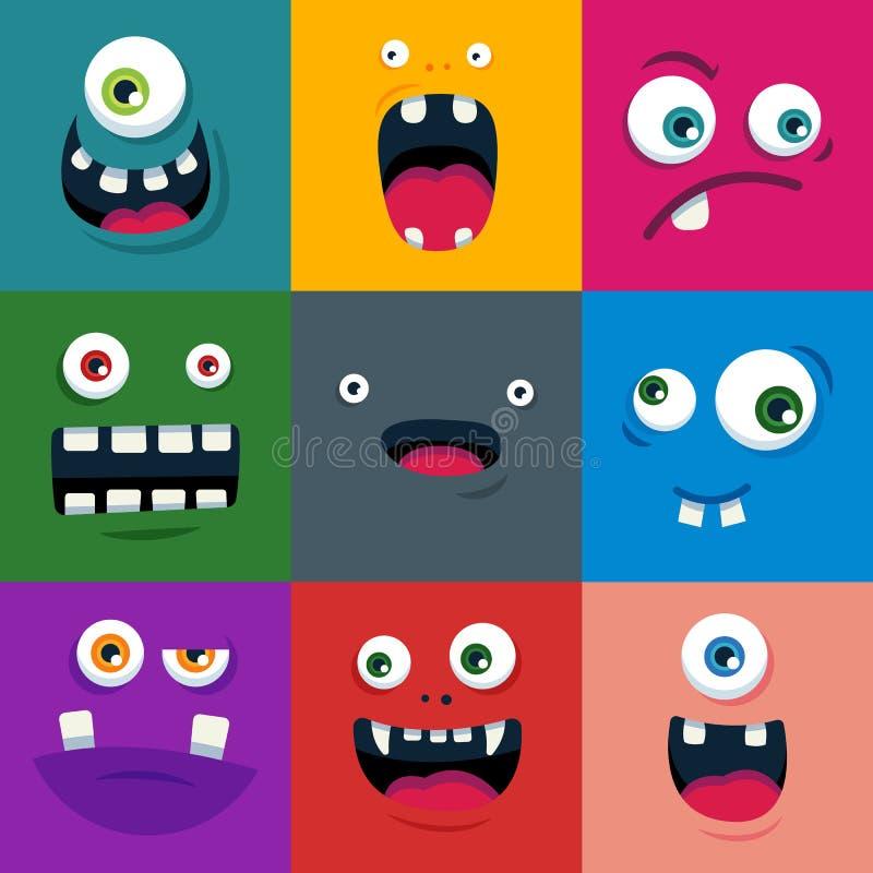 Sistema de caras lindas del monstruo de la historieta Ejemplo plano del vector ilustración del vector